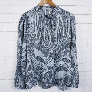 NWT Cato Gray Paisley High Neck Blouse